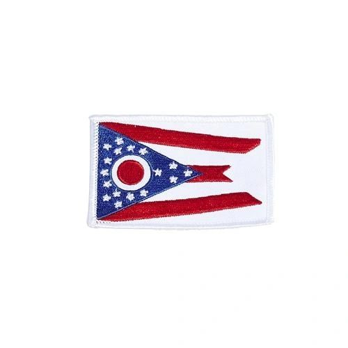 "OHIO USA STATE SQUARE FLAG IRON ON PATCH CREST BADGE .. SIZE : 2.3"" X 3.25"" INCHES .. NEW"