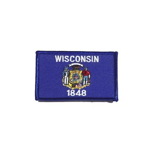 "WISCONSIN USA STATE SQUARE FLAG IRON ON PATCH CREST BADGE .. SIZE : 2.3"" X 3.25"" INCHES .. NEW"