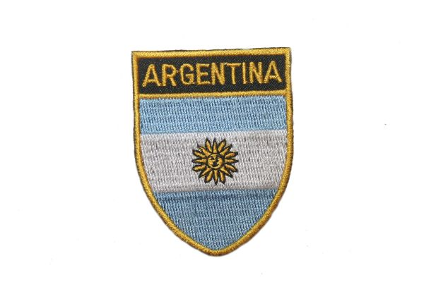 "ARGENTINA COUNTRY FLAG OVAL SHIELD EMBROIDERED IRON ON PATCH CREST BADGE .. SIZE : 2"" X 2.5"" INCHES .. NEW"