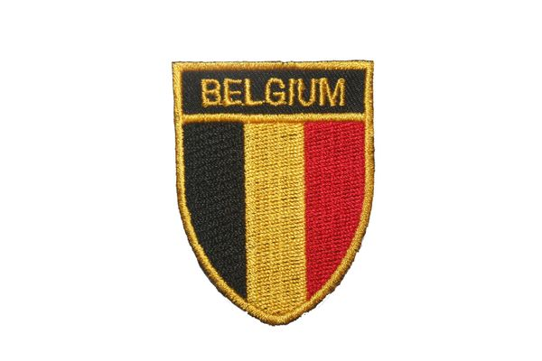 "BELGIUM COUNTRY FLAG OVAL SHIELD EMBROIDERED IRON ON PATCH CREST BADGE .. SIZE : 2"" X 2.5"" INCHES .. NEW"