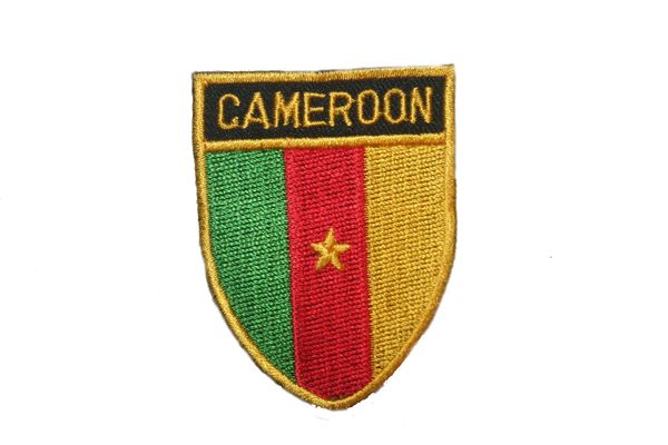 "CAMEROON COUNTRY FLAG OVAL SHIELD EMBROIDERED IRON ON PATCH CREST BADGE .. SIZE : 2"" X 2.5"" INCHES .. NEW"