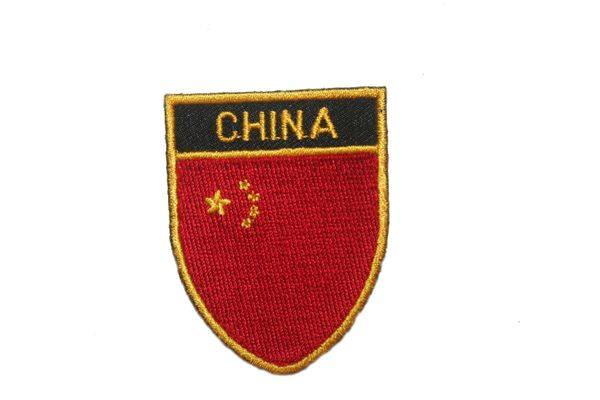 "CHINA COUNTRY FLAG OVAL SHIELD EMBROIDERED IRON ON PATCH CREST BADGE .. SIZE : 2"" X 2.5"" INCHES .. NEW"