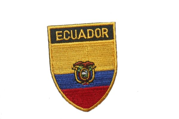 "ECUADOR COUNTRY FLAG OVAL SHIELD EMBROIDERED IRON ON PATCH CREST BADGE .. SIZE : 2"" X 2.5"" INCHES .. NEW"