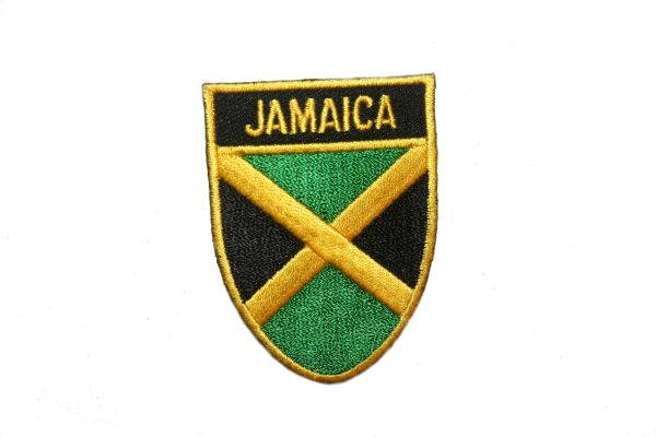 """JAMAICA COUNTRY FLAG OVAL SHIELD EMBROIDERED IRON ON PATCH CREST BADGE .. SIZE : 2"""" X 2.5"""" INCHES .. NEW"""