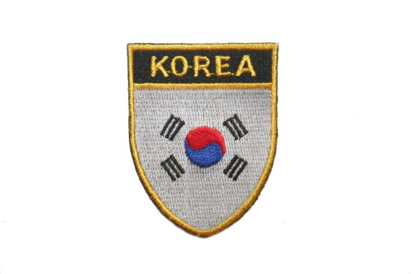 "SOUTH KOREA COUNTRY FLAG OVAL SHIELD EMBROIDERED IRON ON PATCH CREST BADGE .. SIZE : 2"" X 2.5"" INCHES .. NEW"