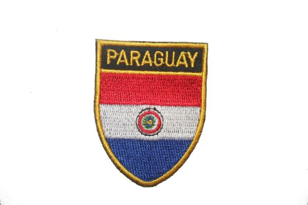 """PARAGUAY COUNTRY FLAG OVAL SHIELD EMBROIDERED IRON ON PATCH CREST BADGE .. SIZE : 2"""" X 2.5"""" INCHES .. NEW"""
