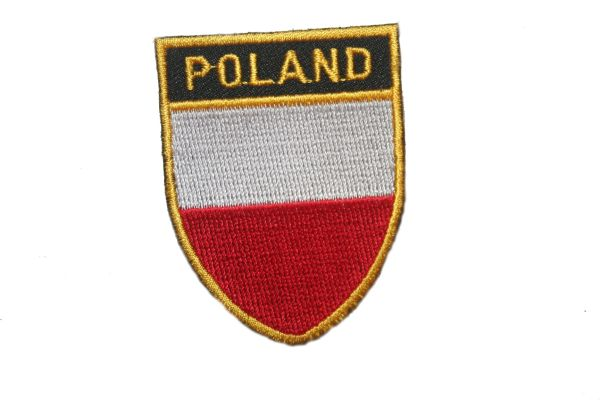 "POLAND COUNTRY FLAG OVAL SHIELD EMBROIDERED IRON ON PATCH CREST BADGE .. SIZE : 2"" X 2.5"" INCHES .. NEW"