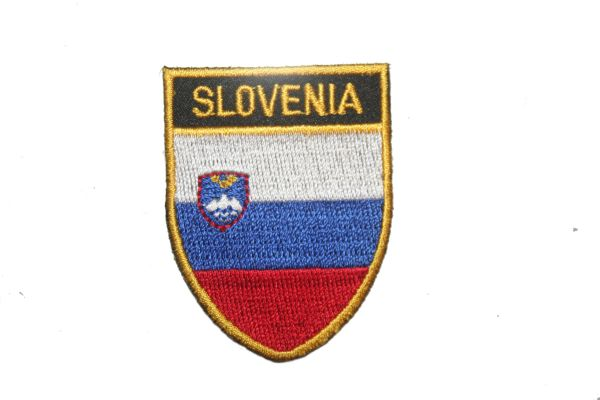 """SLOVENIA COUNTRY FLAG OVAL SHIELD EMBROIDERED IRON ON PATCH CREST BADGE .. SIZE : 2"""" X 2.5"""" INCHES .. NEW"""