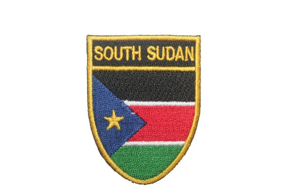 "SOUTH SUDAN COUNTRY FLAG OVAL SHIELD EMBROIDERED IRON ON PATCH CREST BADGE .. SIZE : 2"" X 2.5"" INCHES .. NEW"