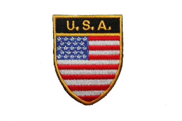 """USA COUNTRY FLAG OVAL SHIELD EMBROIDERED IRON ON PATCH CREST BADGE .. SIZE : 2"""" X 2.5"""" INCHES .. NEW"""