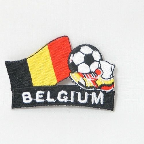 """BELGIUM FIFA SOCCER WORLD CUP , KICK COUNTRY FLAG EMBROIDERED IRON ON PATCH CREST BADGE .. SIZE : 2"""" x 1.75"""" INCHES .. NEW"""