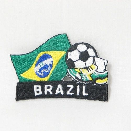 "BRASIL FIFA SOCCER WORLD CUP , KICK COUNTRY FLAG EMBROIDERED IRON ON PATCH CREST BADGE .. SIZE : 2"" x 1.75"" INCHES .. NEW"