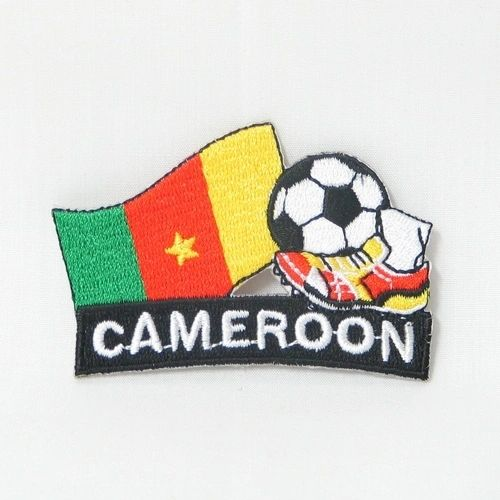 "CAMEROON FIFA SOCCER WORLD CUP , KICK COUNTRY FLAG EMBROIDERED IRON ON PATCH CREST BADGE .. SIZE : 2"" x 1.75"" INCHES .. NEW"