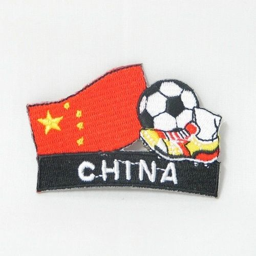 "CHINA FIFA SOCCER WORLD CUP , KICK COUNTRY FLAG EMBROIDERED IRON ON PATCH CREST BADGE .. SIZE : 2"" x 1.75"" INCHES .. NEW"