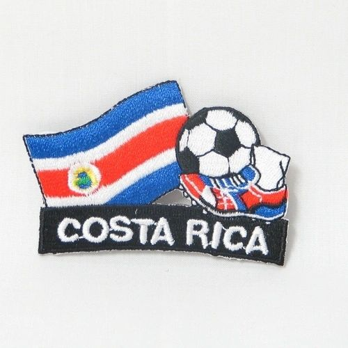 """COSTA RICA FIFA SOCCER WORLD CUP , KICK COUNTRY FLAG EMBROIDERED IRON ON PATCH CREST BADGE .. SIZE : 2"""" x 1.75"""" INCHES .. NEW"""
