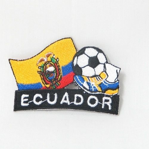 "ECUADOR FIFA SOCCER WORLD CUP , KICK COUNTRY FLAG EMBROIDERED IRON ON PATCH CREST BADGE .. SIZE : 2"" x 1.75"" INCHES .. NEW"