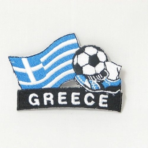 """GREECE FIFA SOCCER WORLD CUP , KICK COUNTRY FLAG EMBROIDERED IRON ON PATCH CREST BADGE .. SIZE : 2"""" x 1.75"""" INCHES .. NEW"""