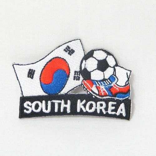 """SOUTH KOREA FIFA SOCCER WORLD CUP , KICK COUNTRY FLAG EMBROIDERED IRON ON PATCH CREST BADGE .. SIZE : 2"""" x 1.75"""" INCHES .. NEW"""