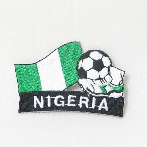 "NIGERIA FIFA SOCCER WORLD CUP , KICK COUNTRY FLAG EMBROIDERED IRON ON PATCH CREST BADGE .. SIZE : 2"" x 1.75"" INCHES .. NEW"