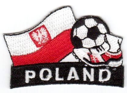 "POLAND WITH EAGLE FIFA SOCCER WORLD CUP , KICK COUNTRY FLAG EMBROIDERED IRON ON PATCH CREST BADGE .. SIZE : 2"" x 1.75"" INCHES .. NEW"