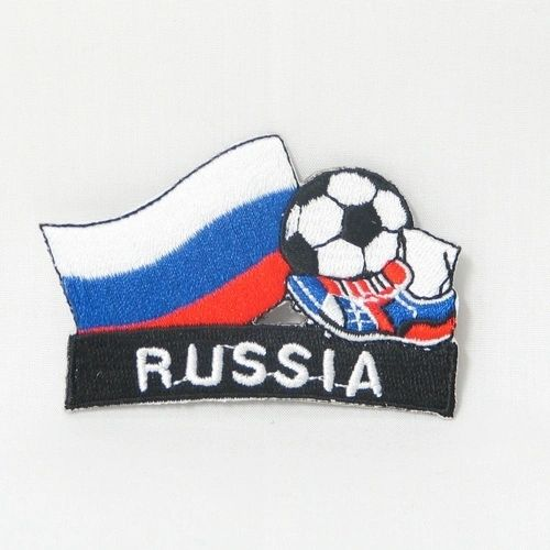 "RUSSIA FIFA SOCCER WORLD CUP , KICK COUNTRY FLAG EMBROIDERED IRON ON PATCH CREST BADGE .. SIZE : 2"" x 1.75"" INCHES .. NEW"