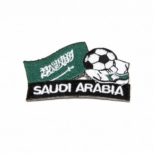 "SAUDI ARABIA FIFA SOCCER WORLD CUP , KICK COUNTRY FLAG EMBROIDERED IRON ON PATCH CREST BADGE .. SIZE : 2"" x 1.75"" INCHES .. NEW"