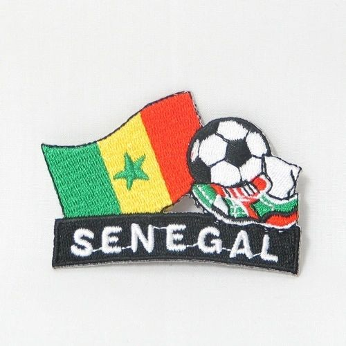 "SENEGAL FIFA SOCCER WORLD CUP , KICK COUNTRY FLAG EMBROIDERED IRON ON PATCH CREST BADGE .. SIZE : 2"" x 1.75"" INCHES .. NEW"