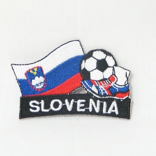 "SLOVENIA FIFA SOCCER WORLD CUP , KICK COUNTRY FLAG EMBROIDERED IRON ON PATCH CREST BADGE .. SIZE : 2"" x 1.75"" INCHES .. NEW"