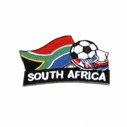 "SOUTH AFRICA FIFA SOCCER WORLD CUP , KICK COUNTRY FLAG EMBROIDERED IRON ON PATCH CREST BADGE .. SIZE : 2"" x 1.75"" INCHES .. NEW"