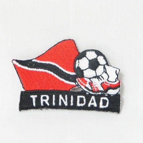 """TRINIDAD FIFA SOCCER WORLD CUP , KICK COUNTRY FLAG EMBROIDERED IRON ON PATCH CREST BADGE .. SIZE : 2"""" x 1.75"""" INCHES .. NEW"""