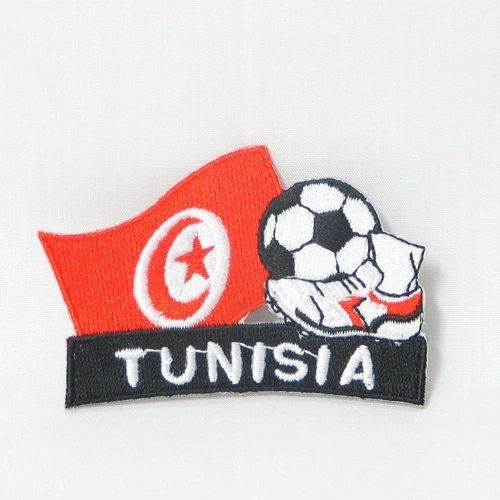 "TUNISIA FIFA SOCCER WORLD CUP , KICK COUNTRY FLAG EMBROIDERED IRON ON PATCH CREST BADGE .. SIZE : 2"" x 1.75"" INCHES .. NEW"