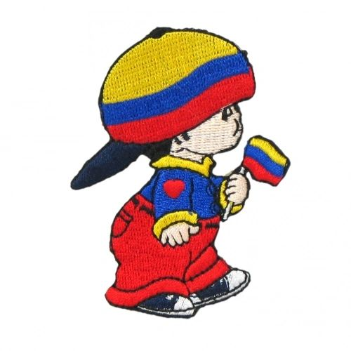 "COLOMBIA LITTLE BOY COUNTRY FLAG EMBROIDERED IRON ON PATCH CREST BADGE .. SIZE : 3"" x 2"" INCHES .. NEW"