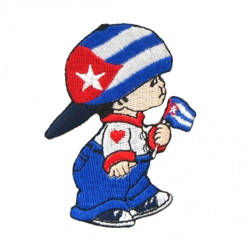 """CUBA LITTLE BOY COUNTRY FLAG EMBROIDERED IRON ON PATCH CREST BADGE .. SIZE : 3"""" x 2"""" INCHES .. NEW"""