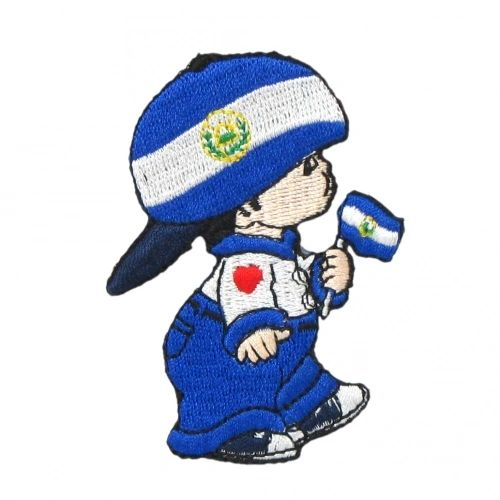 "EL SALVADOR LITTLE BOY COUNTRY FLAG EMBROIDERED IRON ON PATCH CREST BADGE .. SIZE : 3"" x 2"" INCHES .. NEW"