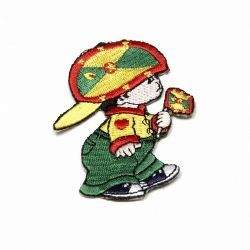 "GRENADA LITTLE BOY COUNTRY FLAG EMBROIDERED IRON ON PATCH CREST BADGE .. SIZE : 3"" x 2"" INCHES .. NEW"
