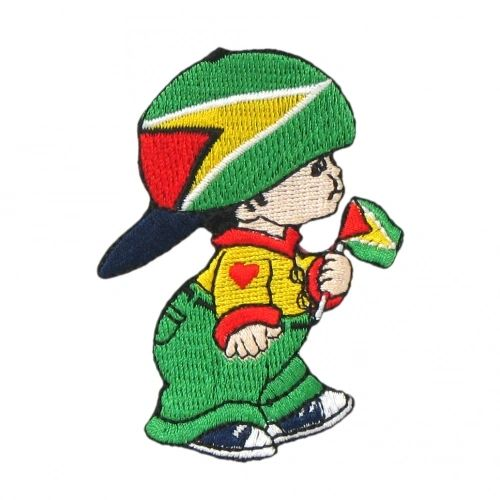 """GUYANA LITTLE BOY COUNTRY FLAG EMBROIDERED IRON ON PATCH CREST BADGE .. SIZE : 3"""" x 2"""" INCHES .. NEW"""