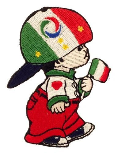 "ITALY SOCCER WORLD CUP FIGC LOGO LITTLE BOY COUNTRY FLAG EMBROIDERED IRON ON PATCH CREST BADGE .. SIZE : 3"" x 2"" INCHES .. NEW"