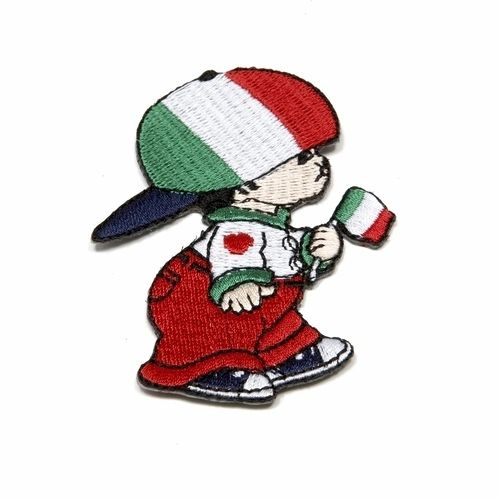 "ITALY LITTLE BOY COUNTRY FLAG EMBROIDERED IRON ON PATCH CREST BADGE .. SIZE : 3"" x 2"" INCHES .. NEW"