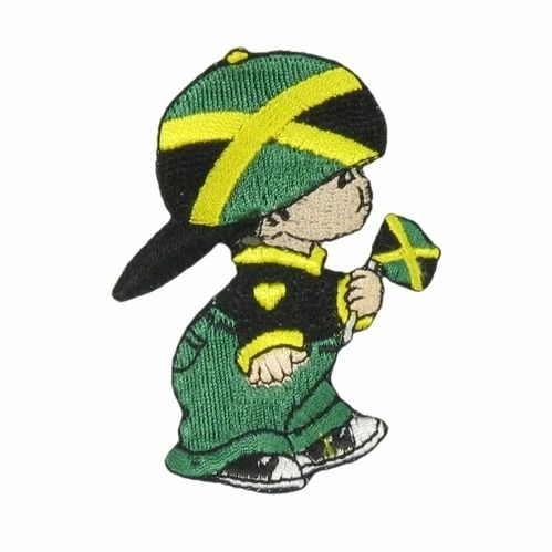 "JAMAICA LITTLE BOY COUNTRY FLAG EMBROIDERED IRON ON PATCH CREST BADGE .. SIZE : 3"" x 2"" INCHES .. NEW"