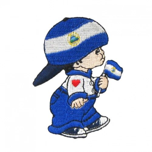 """NICARAGUA LITTLE BOY COUNTRY FLAG EMBROIDERED IRON ON PATCH CREST BADGE .. SIZE : 3"""" x 2"""" INCHES .. NEW"""