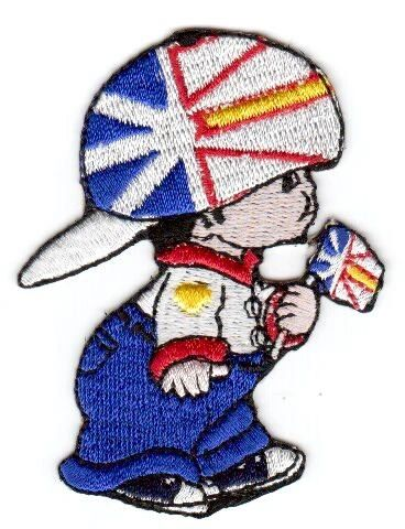 """NEWFOUNDLAND & LABRADOR LITTLE BOY COUNTRY FLAG EMBROIDERED IRON ON PATCH CREST BADGE .. SIZE : 3"""" x 2"""" INCHES .. NEW"""