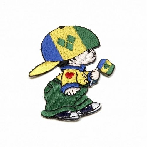 "ST. VINCENT LITTLE BOY COUNTRY FLAG EMBROIDERED IRON ON PATCH CREST BADGE .. SIZE : 3"" x 2"" INCHES .. NEW"