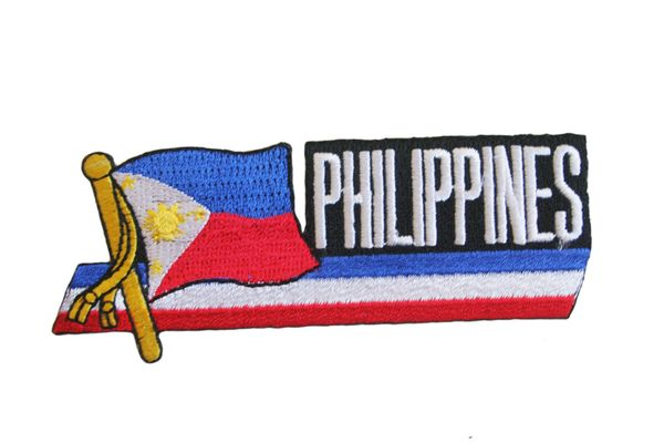 "PHILIPPINES SIDEKICK WORD COUNTRY FLAG EMBROIDERED IRON ON PATCH CREST BADGE .. SIZE : 1.5"" x 4.5"" INCHES .. NEW"