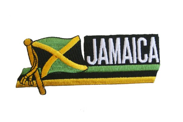 "JAMAICA SIDEKICK WORD COUNTRY FLAG EMBROIDERED IRON ON PATCH CREST BADGE .. SIZE : 1.5"" x 4.5"" INCHES .. NEW"