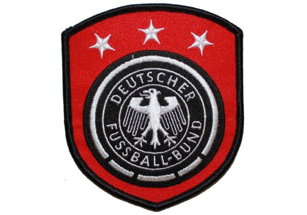 "GERMANY DEUTSCHER FUSSBALL - BUND LOGO - 3 STARS SOCCER WORLD CUP EMBROIDERED IRON ON PATCH CREST BADGE .. SIZE : 3.5"" x 4"" INCHES .. NEW"