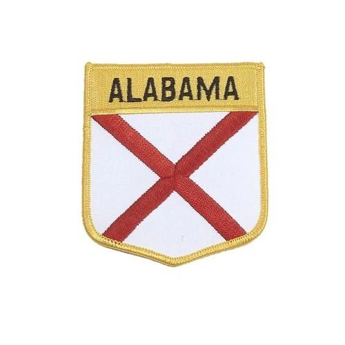 """ALABAMA USA STATE SHIELD FLAG IRON ON PATCH CREST BADGE .. SIZE : 3.5"""" x 3"""" INCHES .. NEW"""