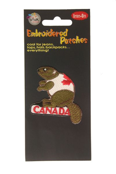 "CANADA BEAVER WITH TITLE ""CANADA"" EMBROIDERED IRON ON PATCH CREST BADGE .. SIZE : 2 1/8"" x 2 1/2"" INCHES .. NEW"