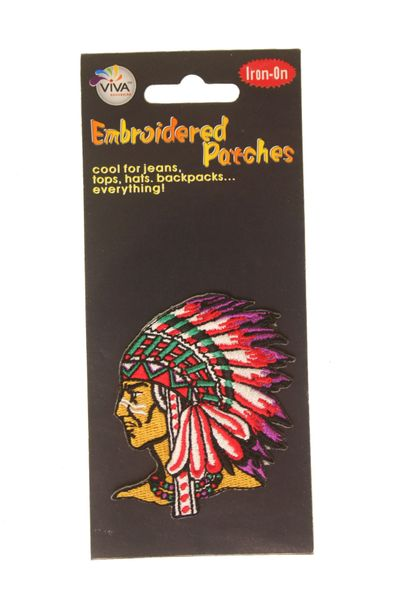 "NATIVE CHIEF DRESS HAT EMBROIDERED IRON ON PATCH CREST BADGE .. SIZE : 2 3/4"" x 3"" INCHES .. NEW"