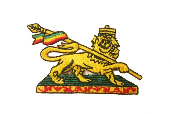 "ETHIOPIA LION OF JUDAH EMBROIDERED IRON ON PATCH CREST BADGE .. SIZE : 2 1/2"" x 1 1/2"" INCHES .. NEW"