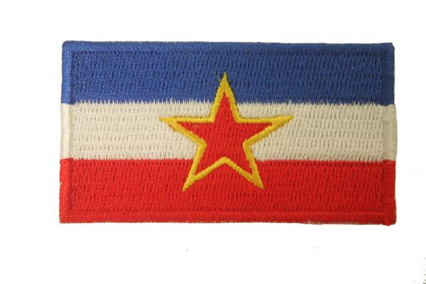"YUGOSLAVIA WITH STAR EMBROIDERED IRON ON PATCH CREST BADGE .. SIZE : 2 1/2"" x 1 1/2"" INCHES .. NEW"